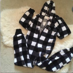 Fuzzy Black/White Plaid Onsie